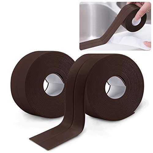 2 Rollen Dichtband Selbstklebend, Waterdichte en Schimmelbestendige Tape, Wannendichtband, für Fenster Tür WC Küche Bad, Lücke, Fliese,Waschbecken (Braun)
