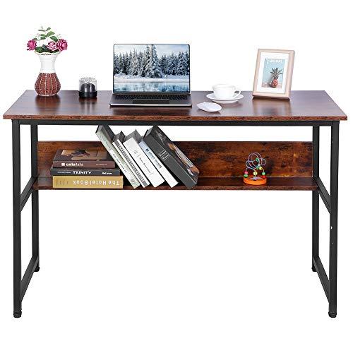 Schreibtisch Holz Computertisch Arbeitstisch mit Holzregalen Bürotisch PC Laptop Tisch Bürotisch Gaming Schreibtisch Computer Schreibtisch PC Laptop Tisch für das Home Office, 120x50x76cm Rustikales