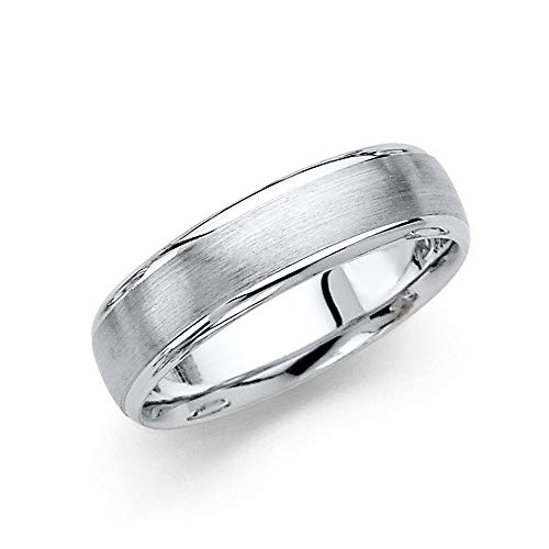 14ct White Gold 6mm Brush Domed Wedding Band Ring Size Q 1/2 Jewelry Gifts for Women