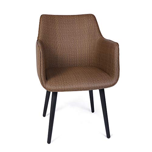 LUCKYERMORE Elegant Italian Design Dining Chair, Metal Frame Armchair Set of 1, Comfortable and High Class Vinyl Seat Integrated in Ergonomic Stylish Frame, Dense Upholstered Foam, 400 lbs, Coffee
