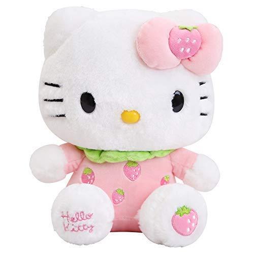 JIAL Nette Hello Kitty Plüschtiere Kuscheltier Katzenpuppen für Kinder Kinder Weihnachten Geburtstag GIF 30cm Pink Chongxiang (Color : Strawberry, Size : 30cm)