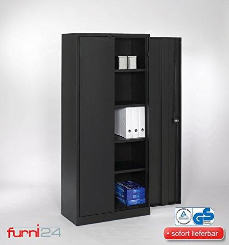 furni24 Aktenschrank Mehrzweckschrank 180 cm x 80 cm x 38 cm schwarz **ohne lästige Montage**