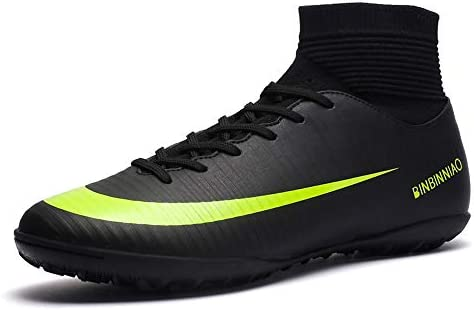 Binbinniao CR Soccer Boots Indoor Men Size Black Messi Outdoor Soccer Shoes High Tops Ankle Boots Women Turf TF Turf Cleats Boys