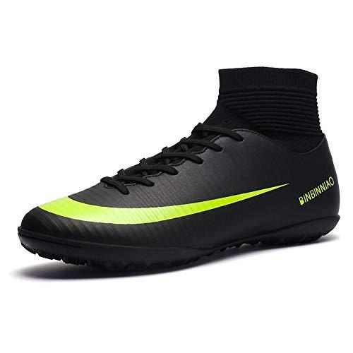 Binbinniao Men's Sport Flexible Athletic Free Running High-Top Sock Shock Outdoor Soccer Shoes CR high Upper Artificial-Turf TF Indoor Football Shoes Black, 9.5