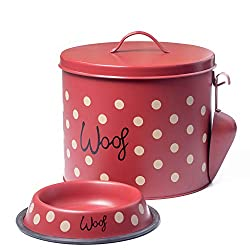 The PetSteel - Red Polka Dot Dog Decorative Canister with Bowl and Scoop | Pet Food and Treat Container Storage Set | Airtight Lids | Fit's Up to 10 lbs of Treats or Food