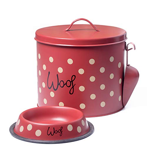 The PetSteel - Red Polka Dot Dog Decorative Canister with Bowl and Scoop | Pet Food and Treat Container Storage Set Red | Airtight Lids | Fit's Up to 10 lbs of Treats or Food