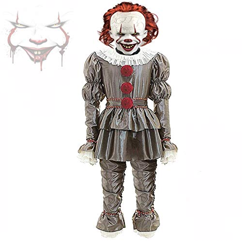 IT 2 Adult Pennywise Clown Halloween Costume Cosplay Suit.(with Clown Latex mask) Gray