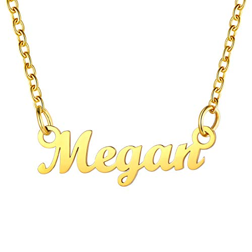 Name Necklace Gold Megan Nameplate Pendant & Adjustable 45CM Rolo Chain (18'+2'), SCRIPT MT BLOOD Font, Present For Grandmother, 18K Gold Plated Stainless Steel Women Jewellery Megan Necklace Chain