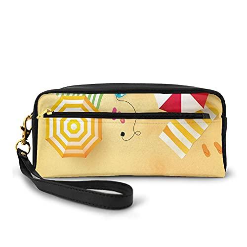 Con bolsa de lápiz con cremallera, olas de playa con toallas de paraguas y tabla de surf temporada de verano temática natación, estuche pequeño bolsa de maquillaje