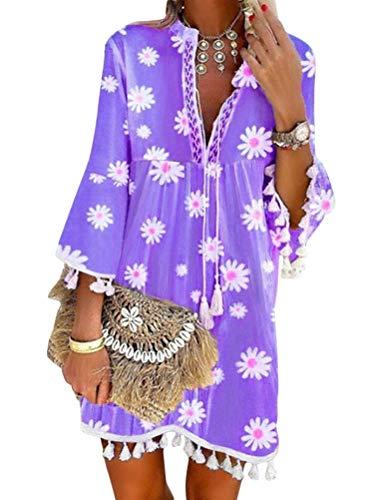 Onsoyours Damen Kleider Strand Elegant Casual A-Linie Kleid Quaste Spitze Langarm Sommerkleider Boho V-Ausschnitt Quaste Tunika Mini Kleider Vintage Minikleid Strandkleid 1 Violett XXL