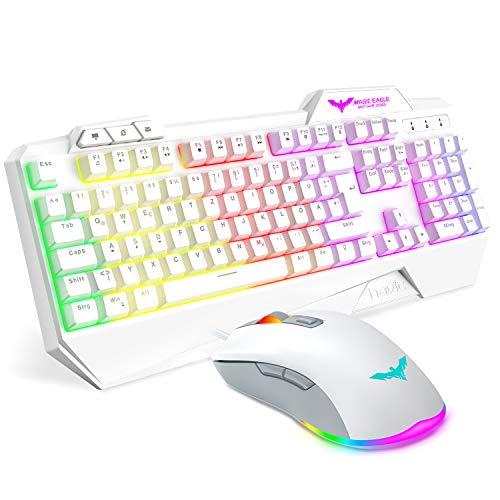 havit Gaming Tastatur und Maus Set, Gaming Tastatur mit LED Hintergrundbeleuchtung QWERTZ (DE-Layout), Wired RGB Gaming Maus mit 4800 DPI und 6 programmierbare Tasten (White-Weiß)