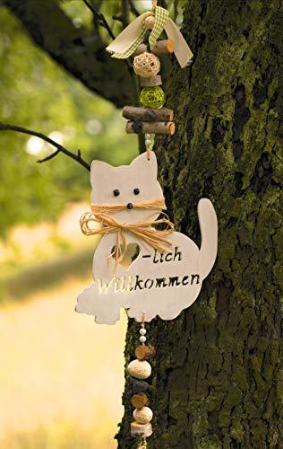 Mocca-Factory Türdeko/Hänger mit Katze, Türdekoration mit Katzenmotiv und Herzlich Willkommen.Türhänger der modernen Art. (Grün)