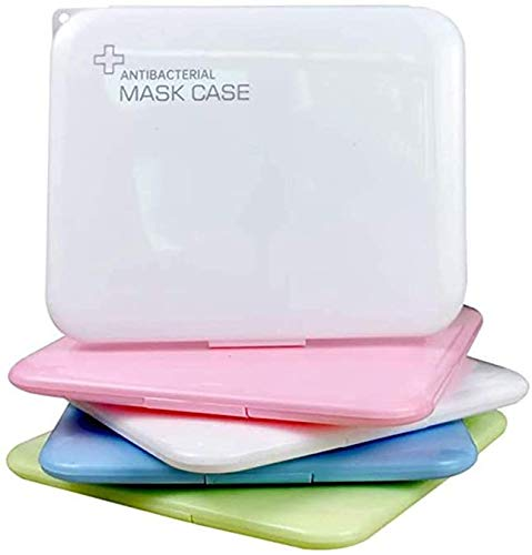 GXZOCK Tragbare Masken-Aufbewahrungstasche [4er-Pack] - Maske Staubdichter Box-Organizer Schutz vor Maskenverschmutzung (ohne Maske, blau/pink/grün/weiß)