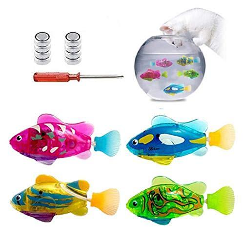 Easy-topbuy 4 STÜCK Schwimmender Roboterfisch, Leichter Transparenter Elektrischer Fisch Wackeliger Fisch Aquarium Spielzeug Batteriebetriebenes Fischspielzeug Kinder Roboter Geschenk Badepuppe