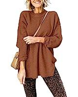 Popheartgo Womens Fall Waffle Crew Neck Pullover Sweater Dresses Side Split Long Sleeve Knit Jumper Oversized Sweaters Brown