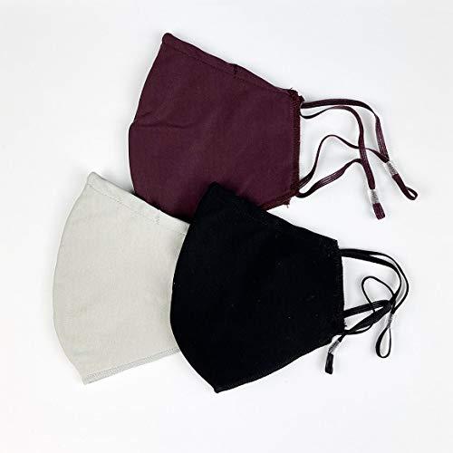 Pack de 3 Mascarillas Reutilizables y Lavables de Tela Algodon Homologadas - Comodas y Respirables - Máscaras Certificadas (1 Negra, 1 Burdeos, 1 Gris)