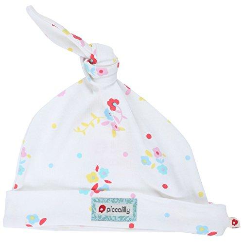 Piccalilly Coton Bio Blanc et Rose pour bébé fille Floral Bonnet noué - Blanc - 6-12 mois
