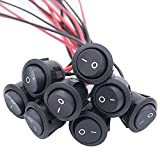 TWTADE 8Pcs Rocker Switch ON/Off 2Pin Latching Toggle SPST Switch Snap with Wires KCD1-X-Y