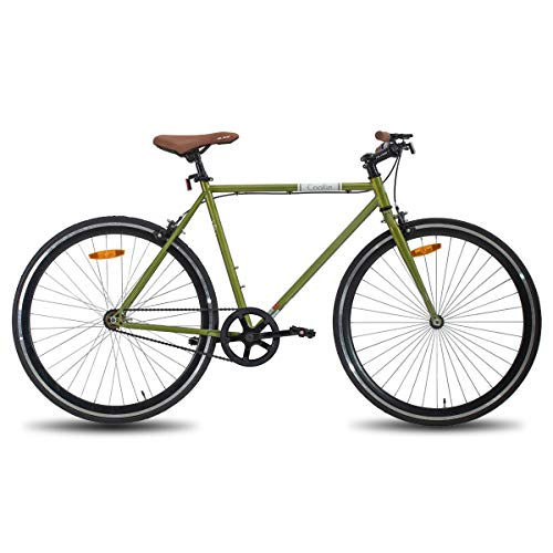 Hiland Road City Bike Urban City Commuter Bicycle for Men 700C Wheels with Single-Speed Green 54CM