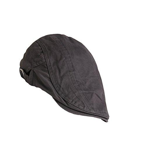 Unisex Erwachsene Schiebermütze Flache Kappe Schirmmütze Flatcap Gatsby Wollmütze Golfermütze - Grau, one size