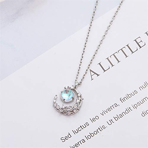 xinmeng Fashion Women Jewelry Crescent Pendant Moon Necklace 925 Sterling Silver Jewelry (Gem Color : Silver)