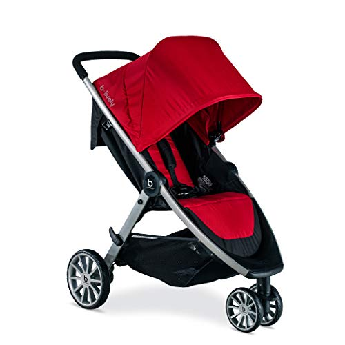 BRITAX B-Lively Lightweight Stroller, Cardinal | One Hand, Easy Fold + Infinite Recline + Front Access Storage + Peekaboo Window