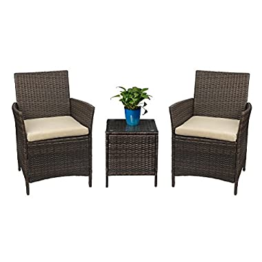 Devoko Patio Porch Furniture Set 3 Piece PE Rattan Wicker Chairs Beige Cushion Table Outdoor Garden Furniture Sets (Brown)