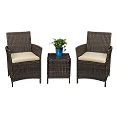 - Sturdy & Durable: Devoko rattan patio furniture set is made of brown PE rattan and strong steel frame, It is durable enough to withstand rain and wind for long time using. Featuring sturdy construction and durable rattan, this porch furniture set c...