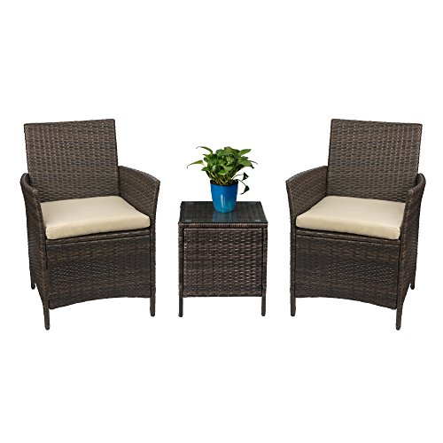 Devoko Patio Porch Furniture Sets 3 Pieces PE Rattan Wicker Chairs with Table Outdoor Garden...