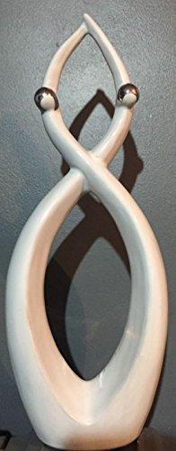 statuettedeco–Coppia Innamorata moderno bianco e argento