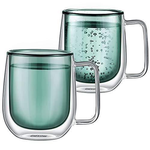 cmxing Doppelwandige Gläser Set Thermoglas Kaffeeglas Trinkgläser 2-teiliges für Espresso Tee Latte Cola Cappuccino Getränk (Grün-300ml)