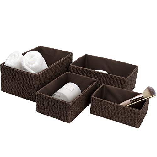 La Jolíe Muse Aufbewahrungskorb Aufbewahrungsboxen, Biologisch Handarbeit aus Papier Pappe, Braune Umweltfreundliche Körbe für Accessoires Schminke 4er Set