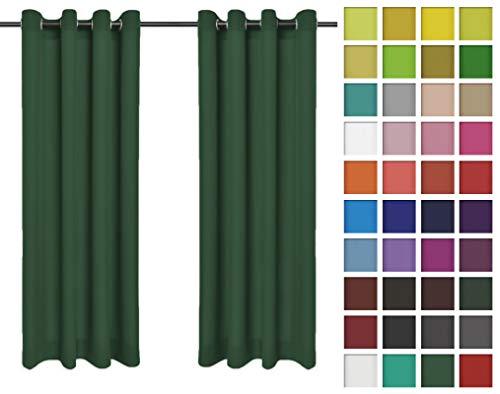 Rollmayer Vorhänge Schal mit Ösen Kollektion Vivid (Smaragdgrün 46, 135x240 cm - BxH) Blickdicht Uni einfarbig Gardinen Schal für Schlafzimmer Kinderzimmer Wohnzimmer