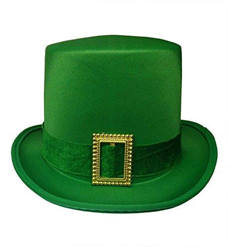 Saint Pattys Day Irish Leprechaun Green Satin Top Hat with Buckle Adult Costume