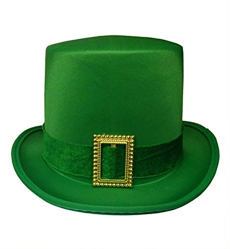 St. Patrick's Day Leprechaun Green Satin Top Hat with Buckle Adult Costume Cap