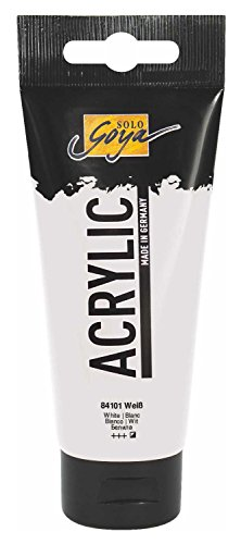 Kreul 84101 - Solo Goya Acrylic, cremige vielseitig einsetzbare Acrylfarbe in Studienqualität, auf Wasserbasis, schnell und matt trocknend, gut deckend, wasserfest, 100 ml Tube, weiß