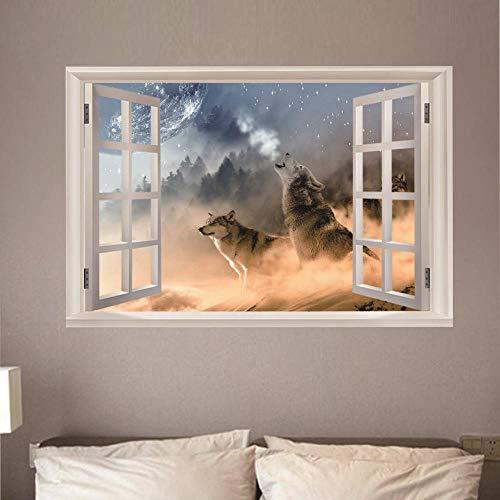 Fensterblick Leinwand - Kunstdruck Modern Wandbilder - Wanddekoration Design Wand Bild - Fenster - Wolf Waldmond,60x90cm