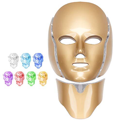 Led Face Mask, 7 Colors LED Face Mask Light Therapy, Led Skin Care Mask for Face and Neck Skin Rejuvenation Led Light Therapy Mask for Home SPA and Travel Use