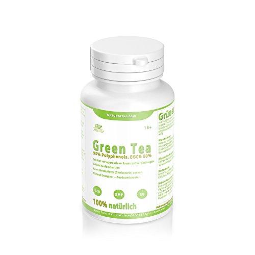 Green Tea Pure Kapseln mit 95% Polyphenols. EGCG 50% Grüner Tee Extract (120 Kapseln)