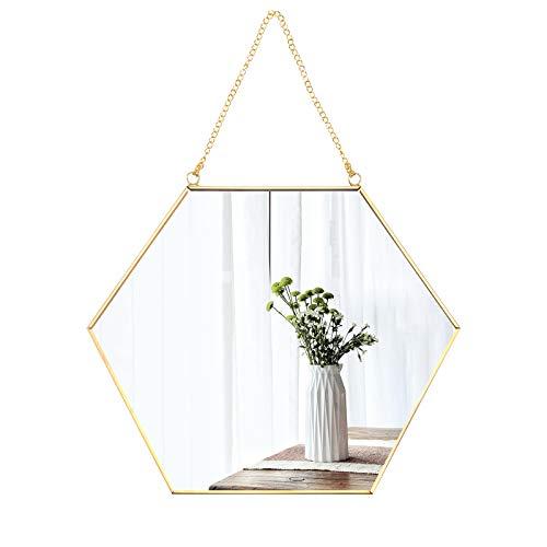 Espejo hexagonal para colgar, espejo hexagonal para baño, marco de latón con cadena colgante estilo vintage, espejo enmarcado de metal con cadena (Hexagón)