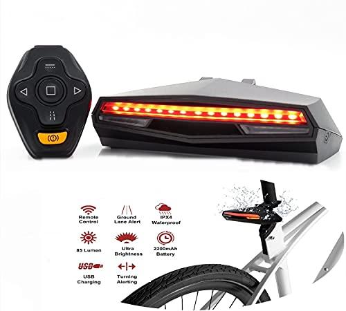 ITB MALL Faro trasero LED para bicicleta con mando a distancia Advertencia de freno de emergencia, luces intermitentes, señalización láser de carril para bicicletas, batería recargable USB