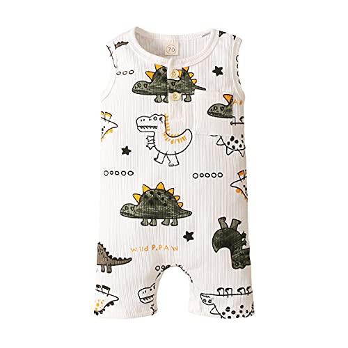 Bebé recién nacido bebé niño dinosaurio ropa acanalada sin mangas mameluco mono de una pieza traje de verano