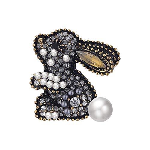 DAGONGREN Mujer Linda del Conejo de Diamante, Broche del Rhinestone cristalino, joyería Vestido mantón de la Bufanda de Clip