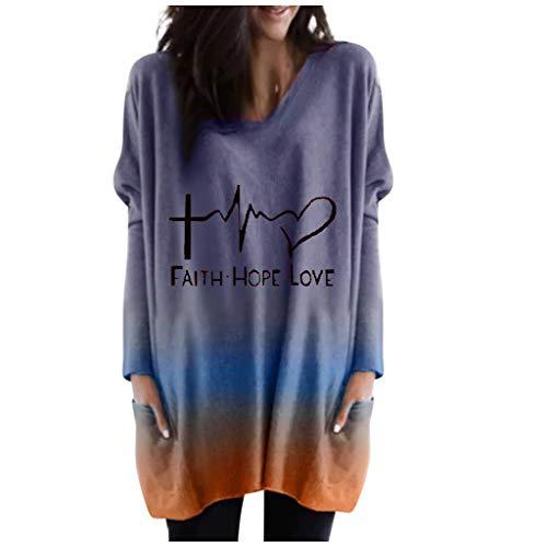 BURFLY Damen Mode Langer Pullover mit V-Ausschnitt, Färben Warme Herbst- und Winter Jacke mit Langen ÄRmeln Und FlüGeläRmeln Bluse
