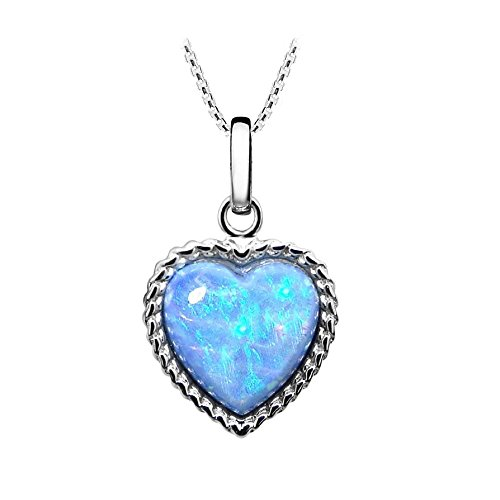Colgante de Corazón de Ópalo Azul de un Color Vibrante. Plata de Ley.