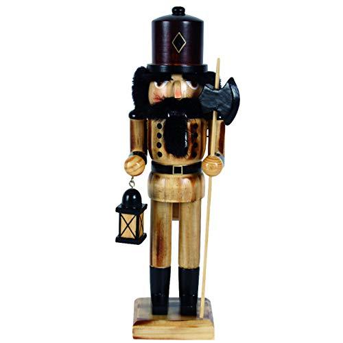 OBC-Kunsthandwerk Nussknacker Holzfigur Nachtwächter braun / 25 cm/Deko Figur Nussknacker Holz/Handbemalt im Erzgebirge Stil/weihnachtlich dekorieren
