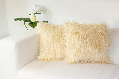 SQ Professional Decorative Square Cushion with Fur Cover 40x40cm Set of 2 (Cream with Gold Treads)