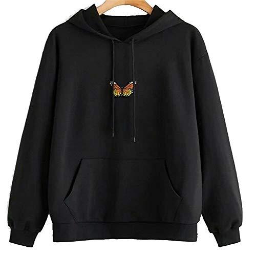 LuBHnna Frauen Schmetterling Hoodie Lässige Schmetterlingsdruck Patchwork Kordelzug Pullover Kapuzenpullover Crop Top