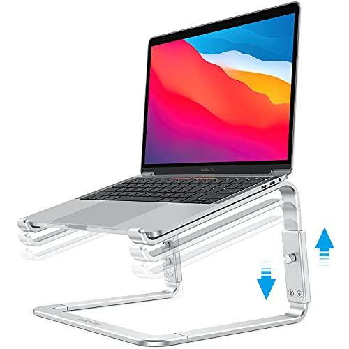 OMOTON Soporte Laptop, Stand, Base de Portátil para Ordenador de Altura Ajustable, Desmontable de Aluminio Resistente para MacBook Air/Pro, HP, Lenovo y Otras Computadoras de 11 a 16 Pulgadas, Plata