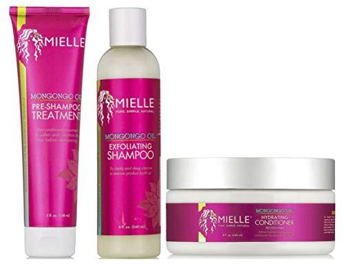 Mielle Organics Mongongo Pre-Champú Tratamiento 5oz con Mongongo Exfoliating Shampoo 8oz y Mongongo Hydrating Conditioner 8oz